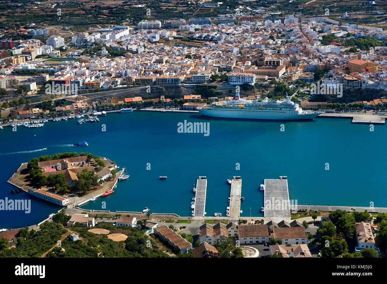 Mahon. Luftaufnahme. Insel Menorca. Balearen. Spanien. Stockbild