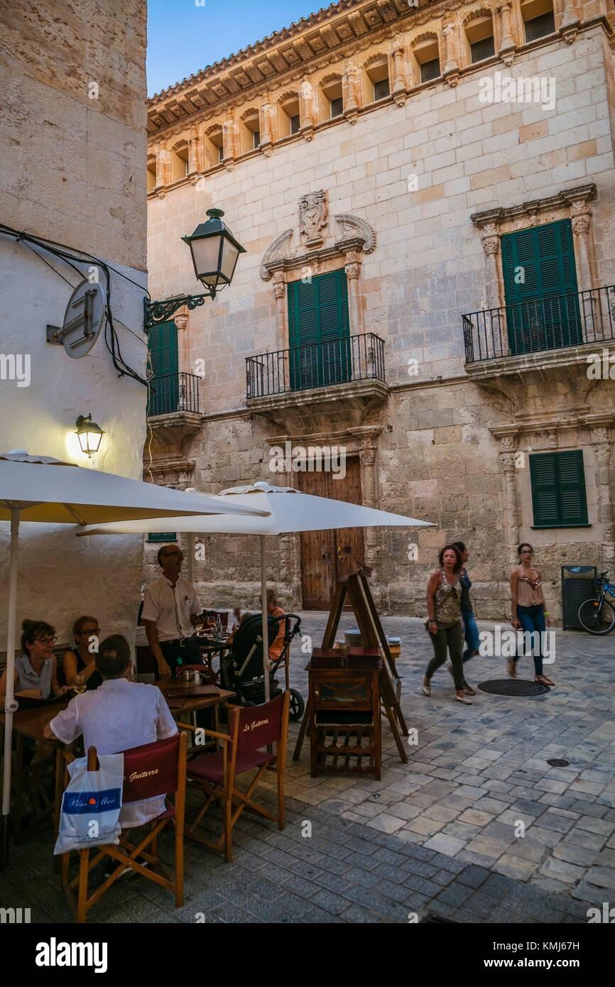 Kann Saura Barockschloss, XVII-XVIII Jahrhundert. Der Parc de la Ciutadella. Menorca. Balearen. Spanien Stockbild