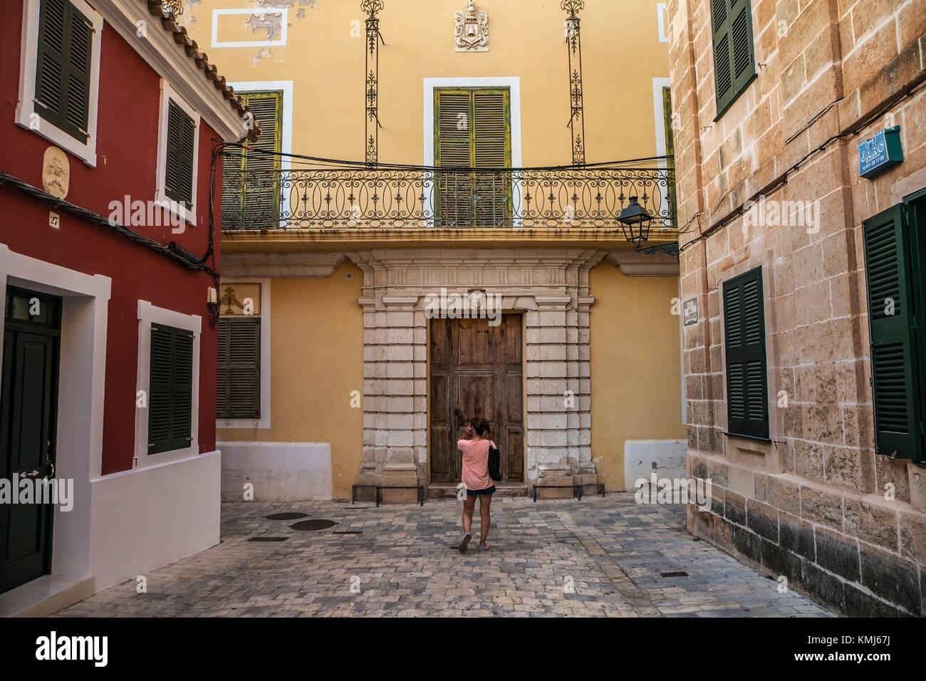 Kann Squella Barockschloss, dem XVIII Jahrhundert. Der Parc de la Ciutadella. Menorca. Balearen. Spanien Stockbild