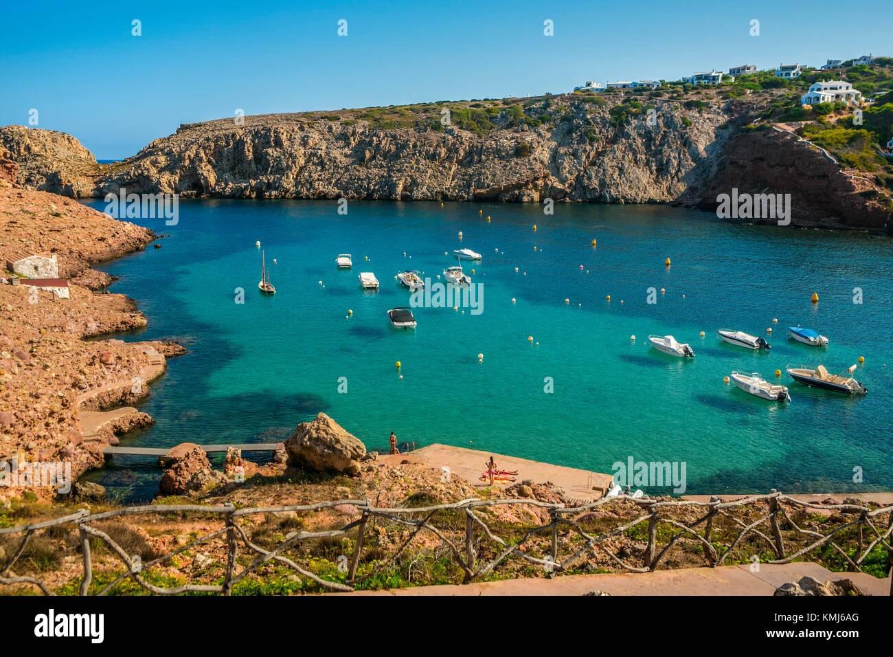 Die Bucht Cala Morell. Ciutadella de Menorca Gemeinde. Menorca. Balearen. Spanien Stockbild