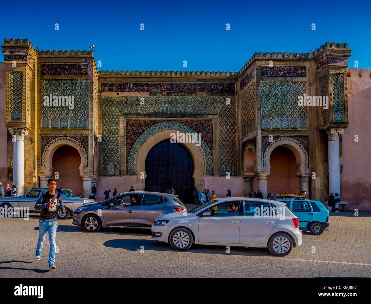 "Marokko, Meknes, der berühmten ""Bab Mansour' Tor, in Meknes. Stockbild"