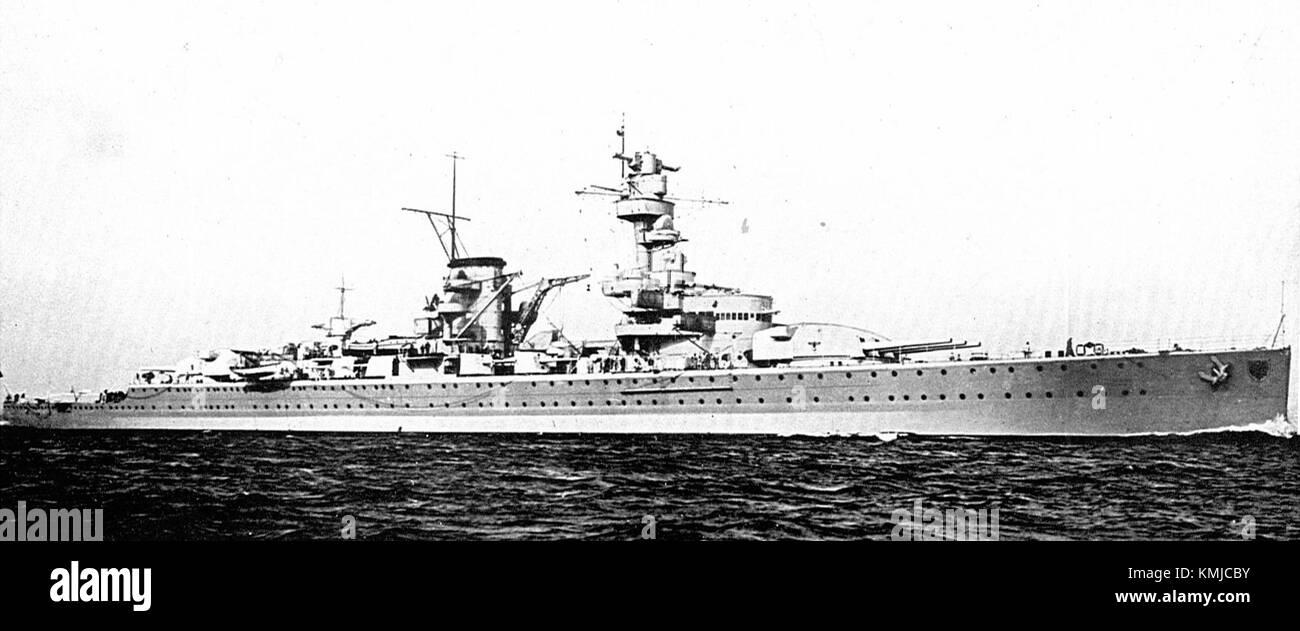 Deutsche Panzerkreuzer Deutschland (Kriegsschiffe zu-Tag, 1936). Stockbild