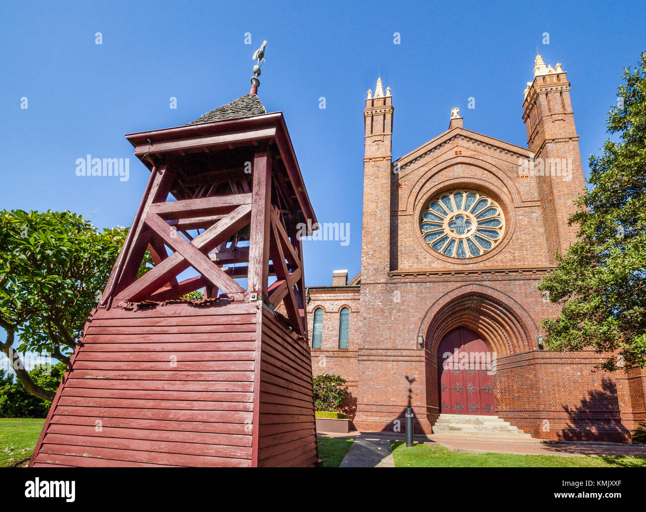 Australien, New South Wales, Newcastle, Blick auf den Neugotischen Stil Christ Church Cathedral (oder Kathedrale Stockbild