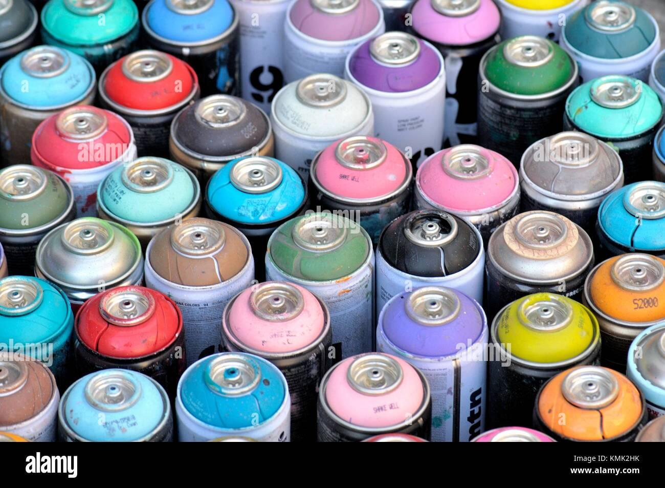 Spraydosen Farben.Aerosol Spraydosen Farbe Sprays Barcelona Katalonien