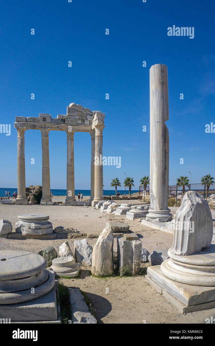 Tempel des Apollon, Reste der alten Seite, Weltkulturerbe der UNESCO, Manavgat, Türkische Riviera, Türkei Stockbild