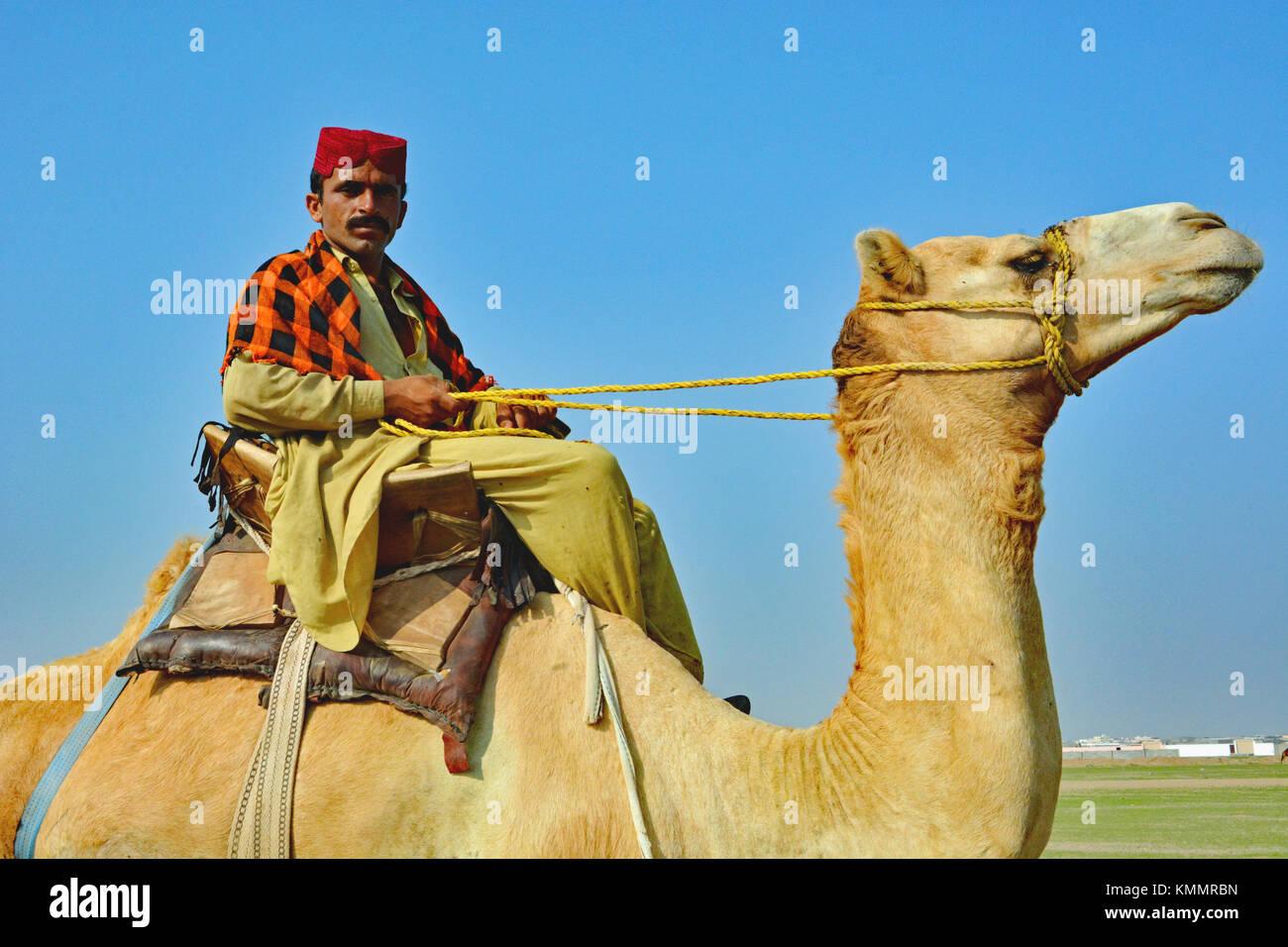 Kamel Hirte, bitte lassen Sie mir sein Foto nehmen, während seine Kamele Weiden waren. Al Lith Region gerade Stockbild