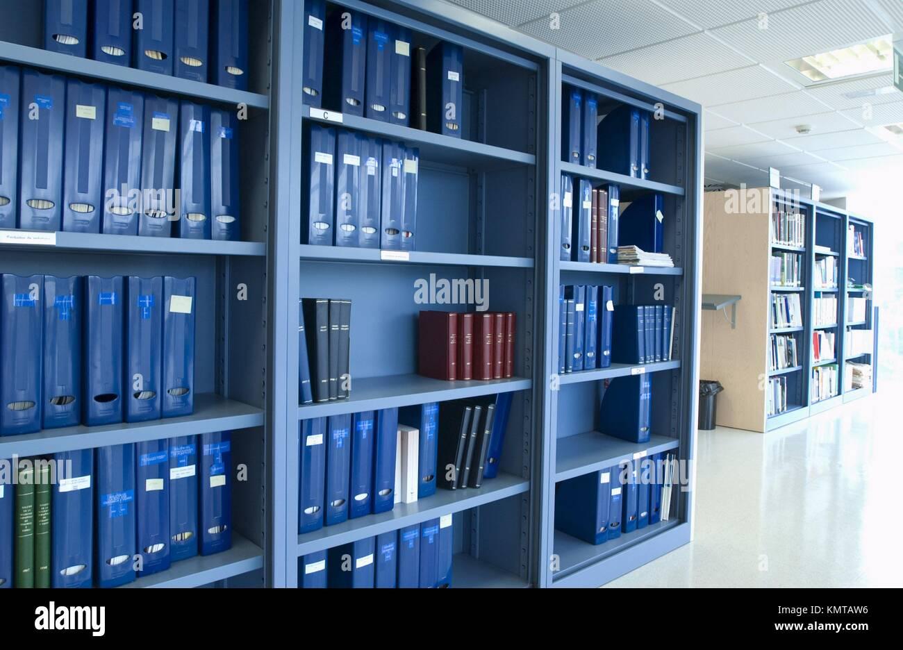 Bibliothek, Archiv Dokumente Stockbild