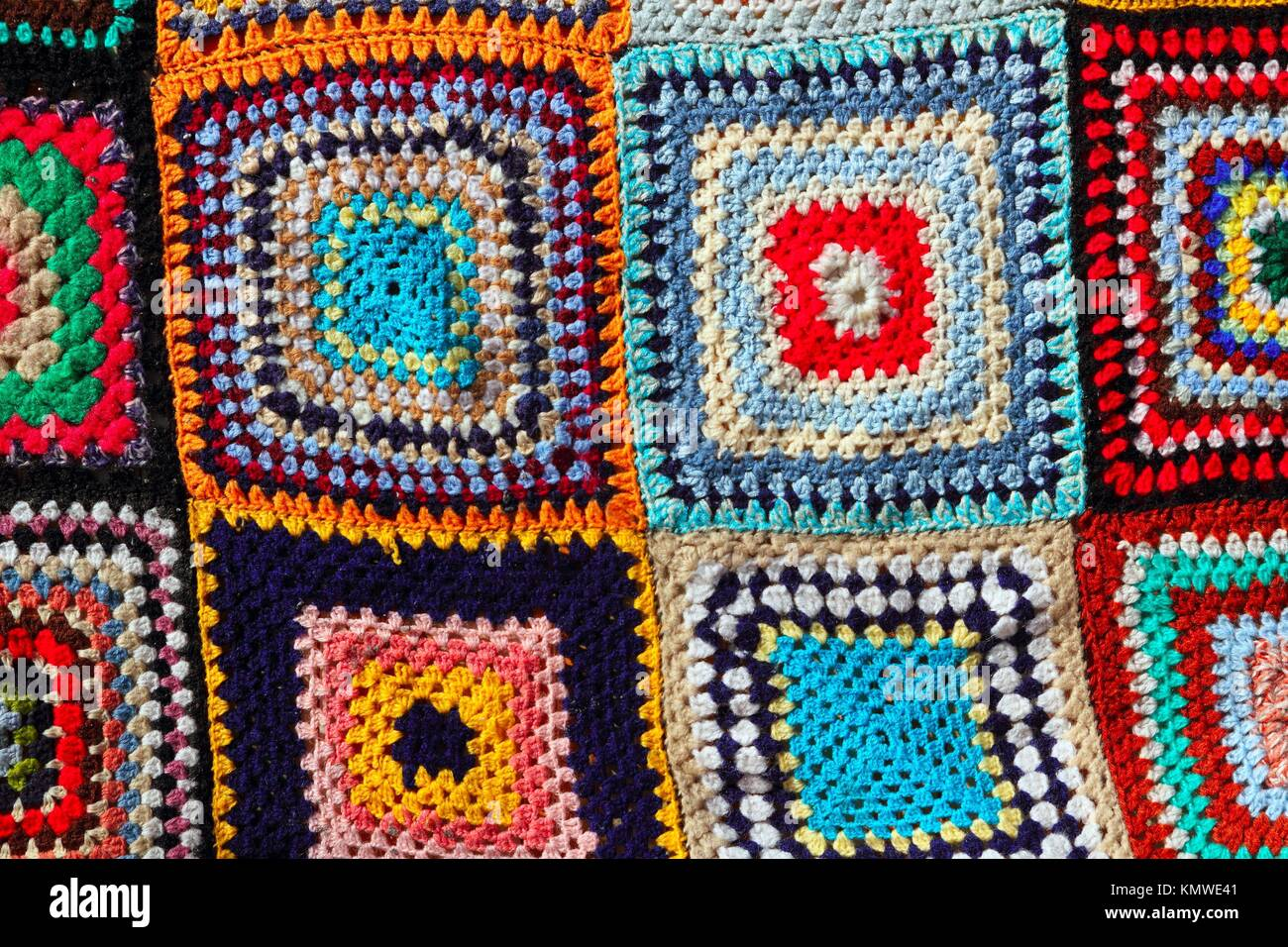 Patchwork Bunte Muster Handwerk Stoff Decke Häkeln Stockfoto Bild
