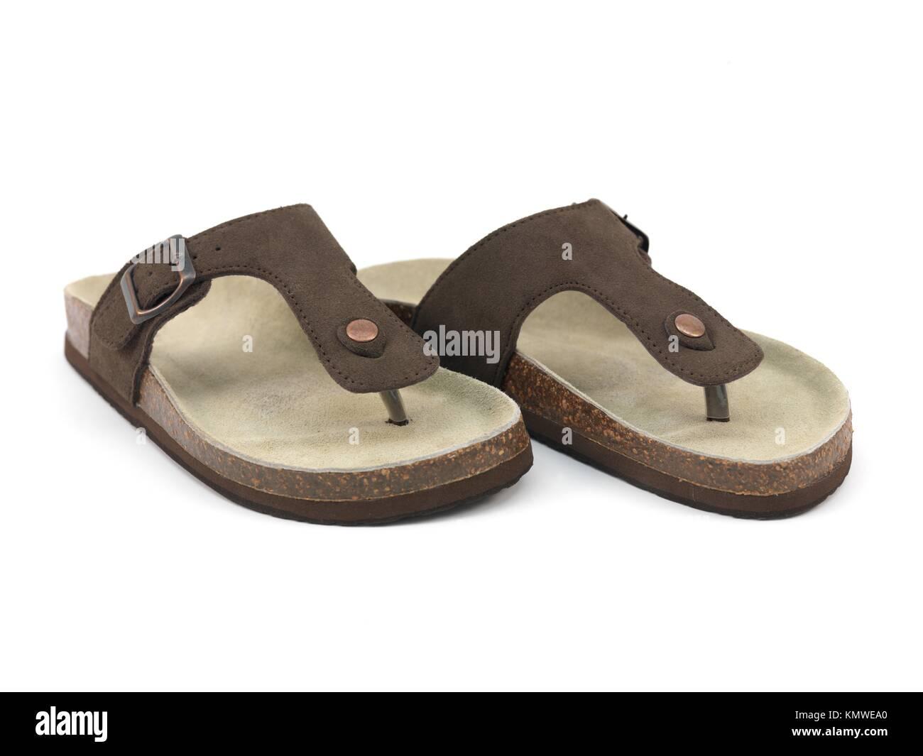 Braun Sandalen isoliert gegen einen weißen Hintergrund Stockbild e017887e08