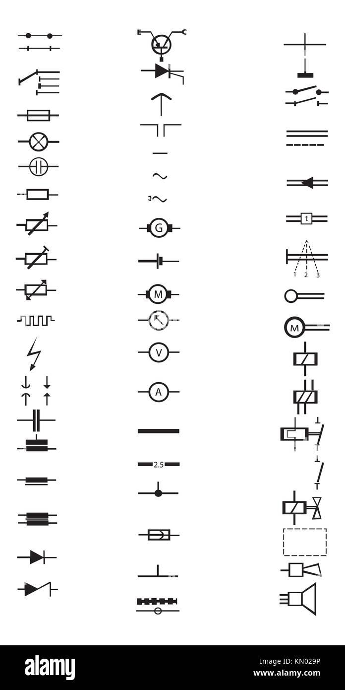 Eine umfangreiche Liste von zahlreichen elektrische Zeichen und ...