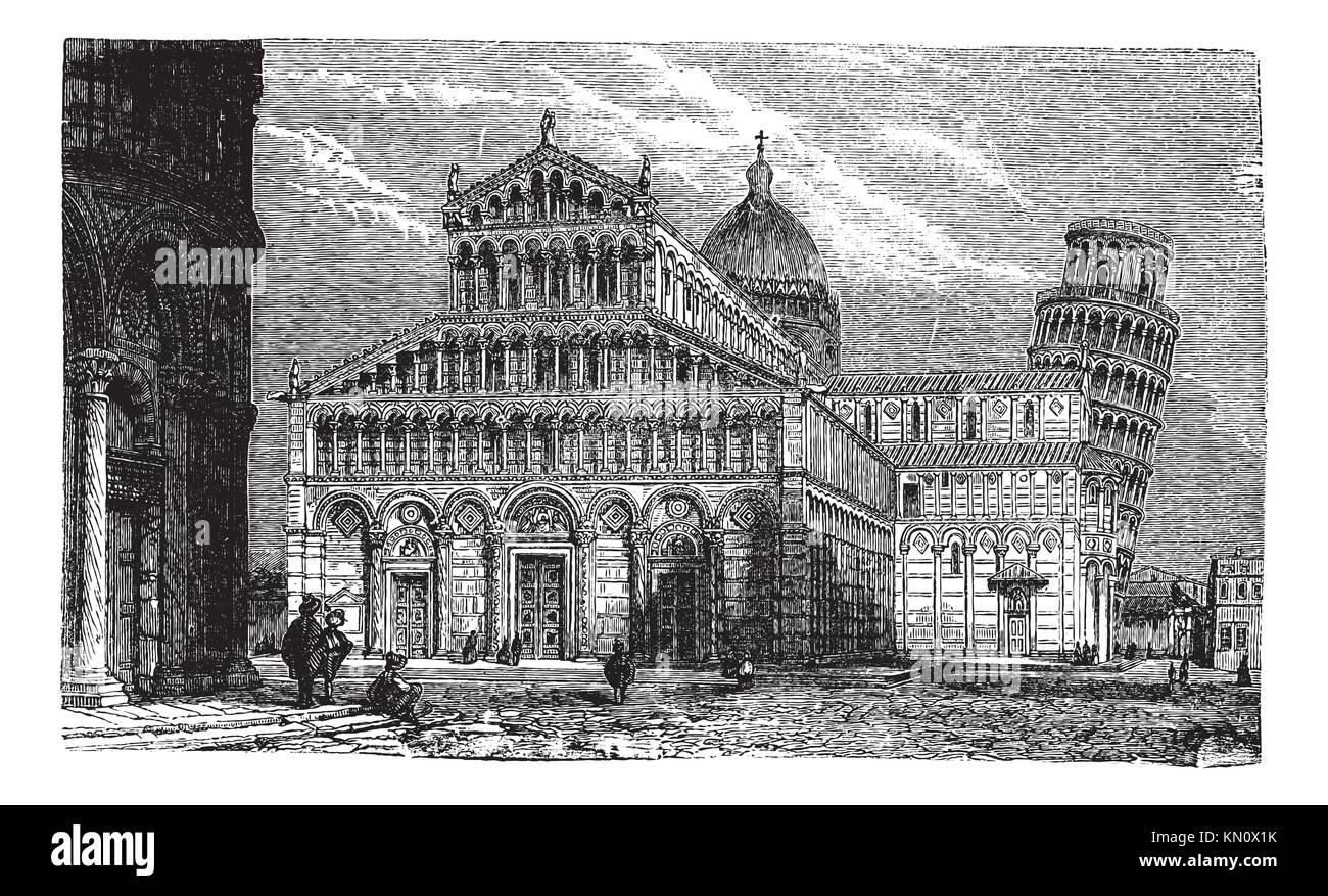 Schiefer Turm Dom Und Baptisterium Von Pisa Vintage Eingraviertem