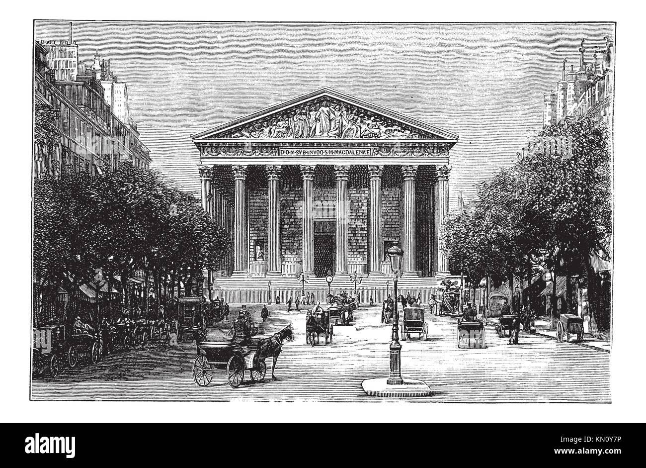 Kirche La Madeleine und der Rue Royale in Paris, Frankreich, in den 1890er Jahren, vintage Gravur Alte eingravierte Darstellung der Kirche La Madeleine und der Rue Royale Stockfoto