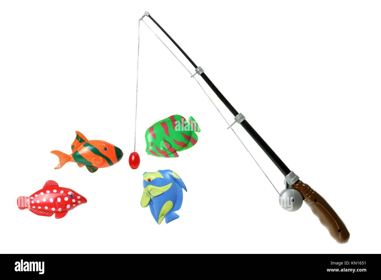 Spielzeug Angelrute auf weißem Hintergrund Stockfotografie