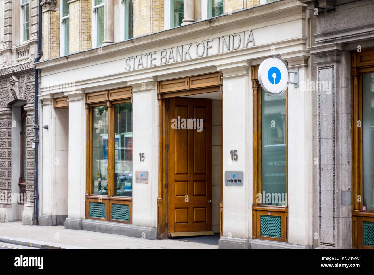 State Bank of India UK (SBIUK). Filiale außen auf der King Street, London, UK Stockbild