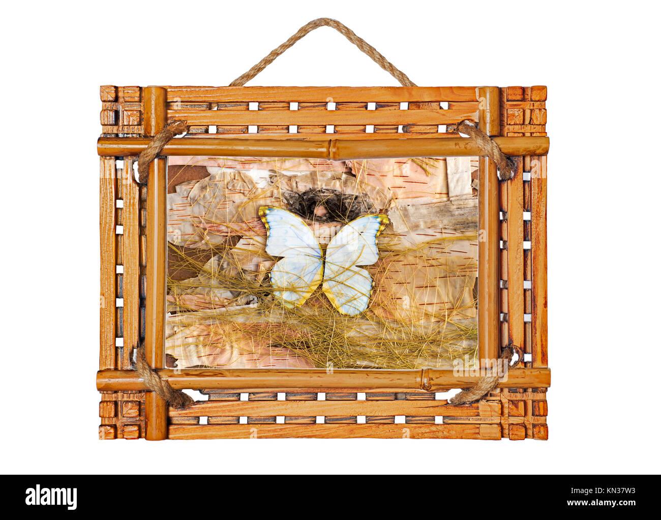 Bambus Bilderrahmen mit abstrakte Komposition von Schmetterlingen ...