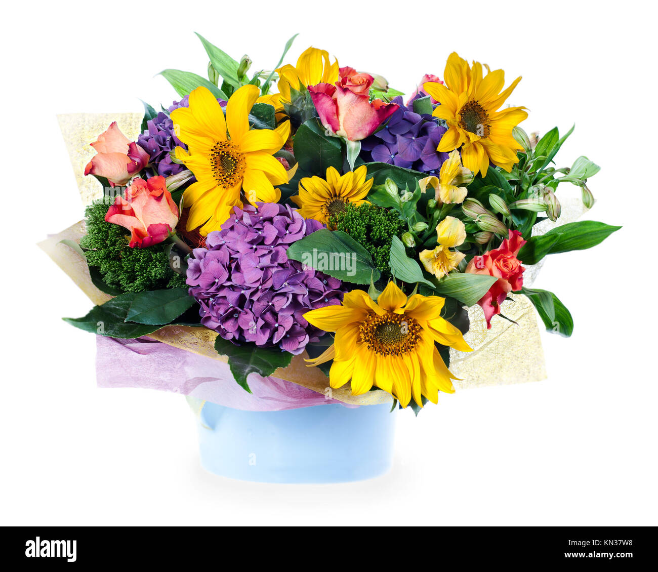 bunte blumen blumenstrau aus rosen lilien sonnenblumen und iris mittelst ck in vase auf. Black Bedroom Furniture Sets. Home Design Ideas