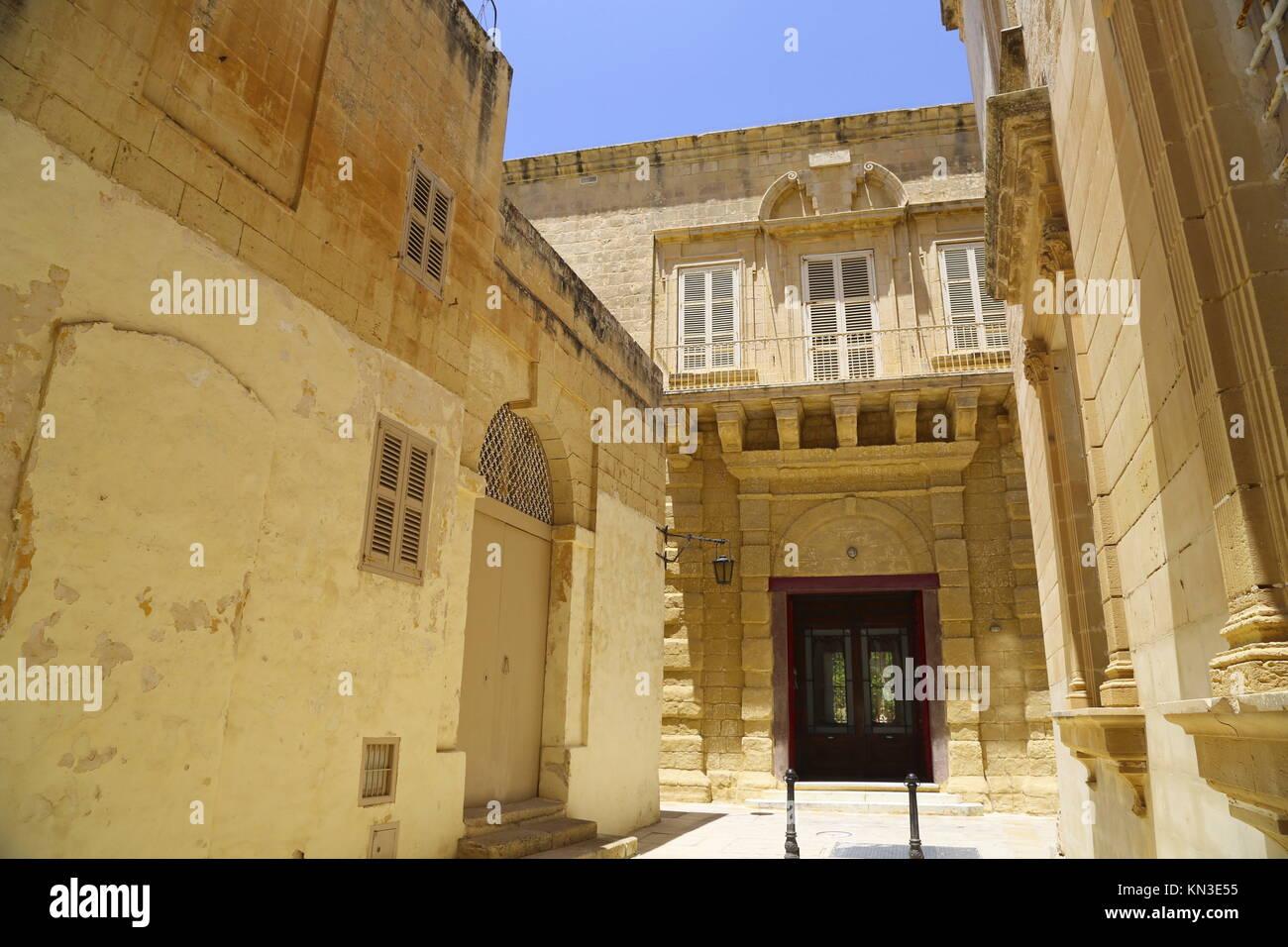 Historische Architektur in Mdina, Malta, Südeuropa. Stockbild