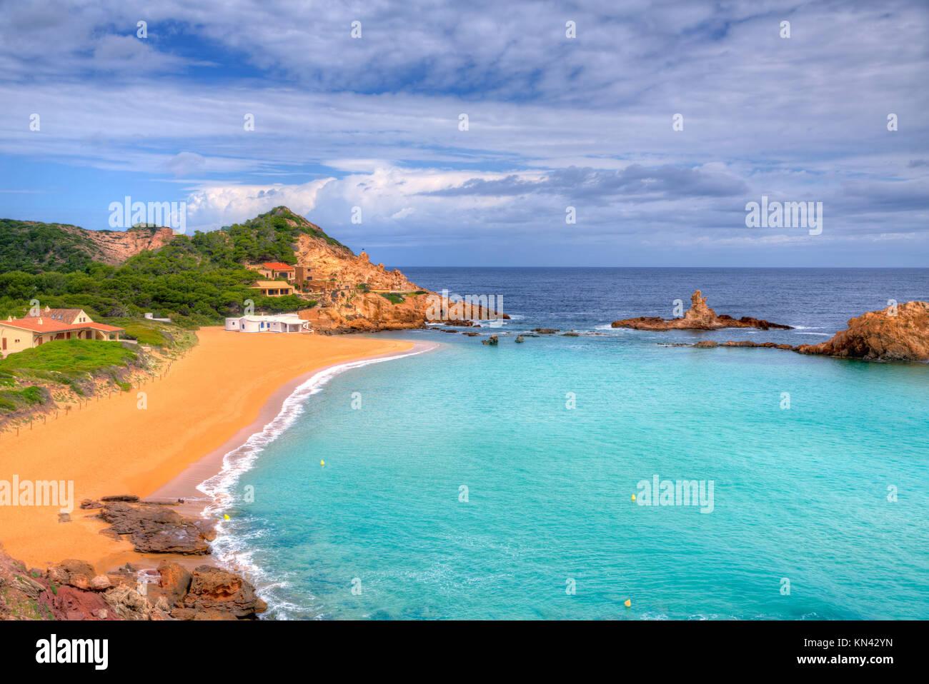 Cala Pregonda auf Menorca, Balearen Es Mercadal. Stockbild