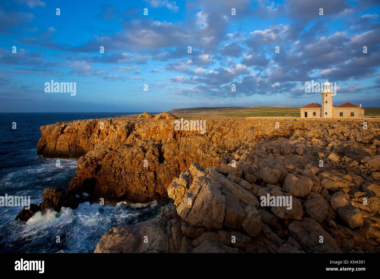 Menorca Punta Nati faro Leuchtturm in Ciutadella, Balearen, Spanien. Stockbild