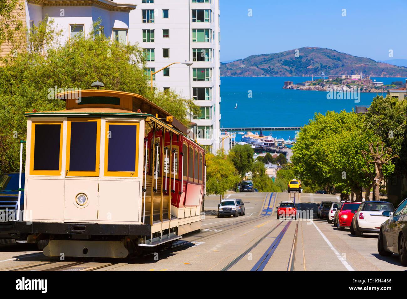 San Francisco Hyde Street Cable Car Bahn der Powell-Hyde in Kalifornien, USA. Stockbild