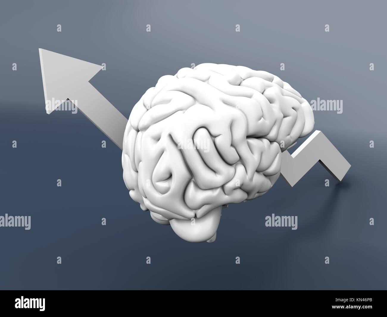 Wachsende Intelligenz. 3D-Darstellung. Stockbild