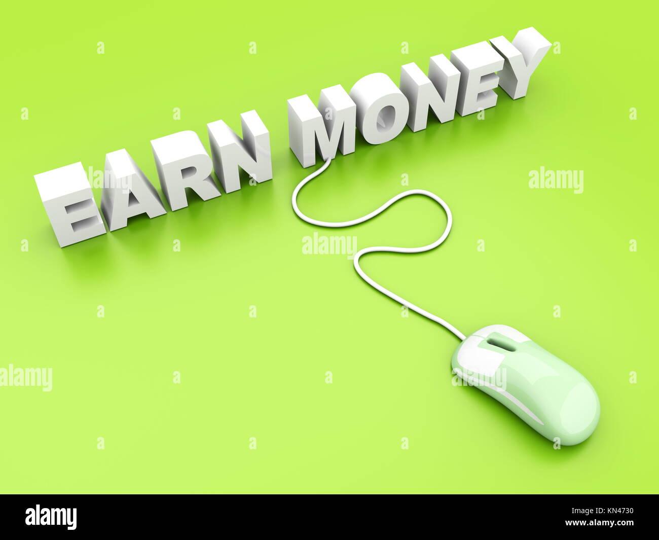 Online verdienen Sie Geld. 3D gerenderte Darstellung. Stockbild