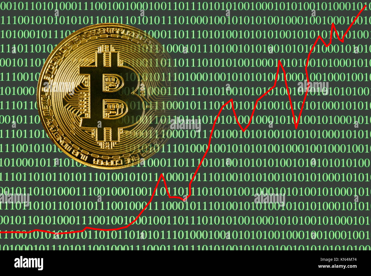 Symbol Bild handeln Kurs digitale Währung, goldene physischen Münze bitcoin Laptop mit binären Code Stockbild