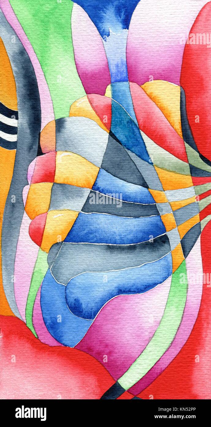 Jugendstil Schamanen Abstrakte Kunst Nouveau Stil Original Aquarell Malerei Stockfotografie Alamy