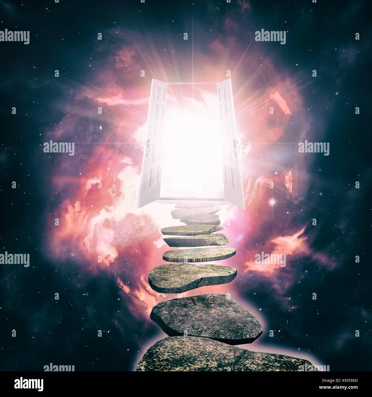 Tür zu einer anderen Wirklichkeit öffnen, abstrakte ethereal Hintergründe. Stockbild