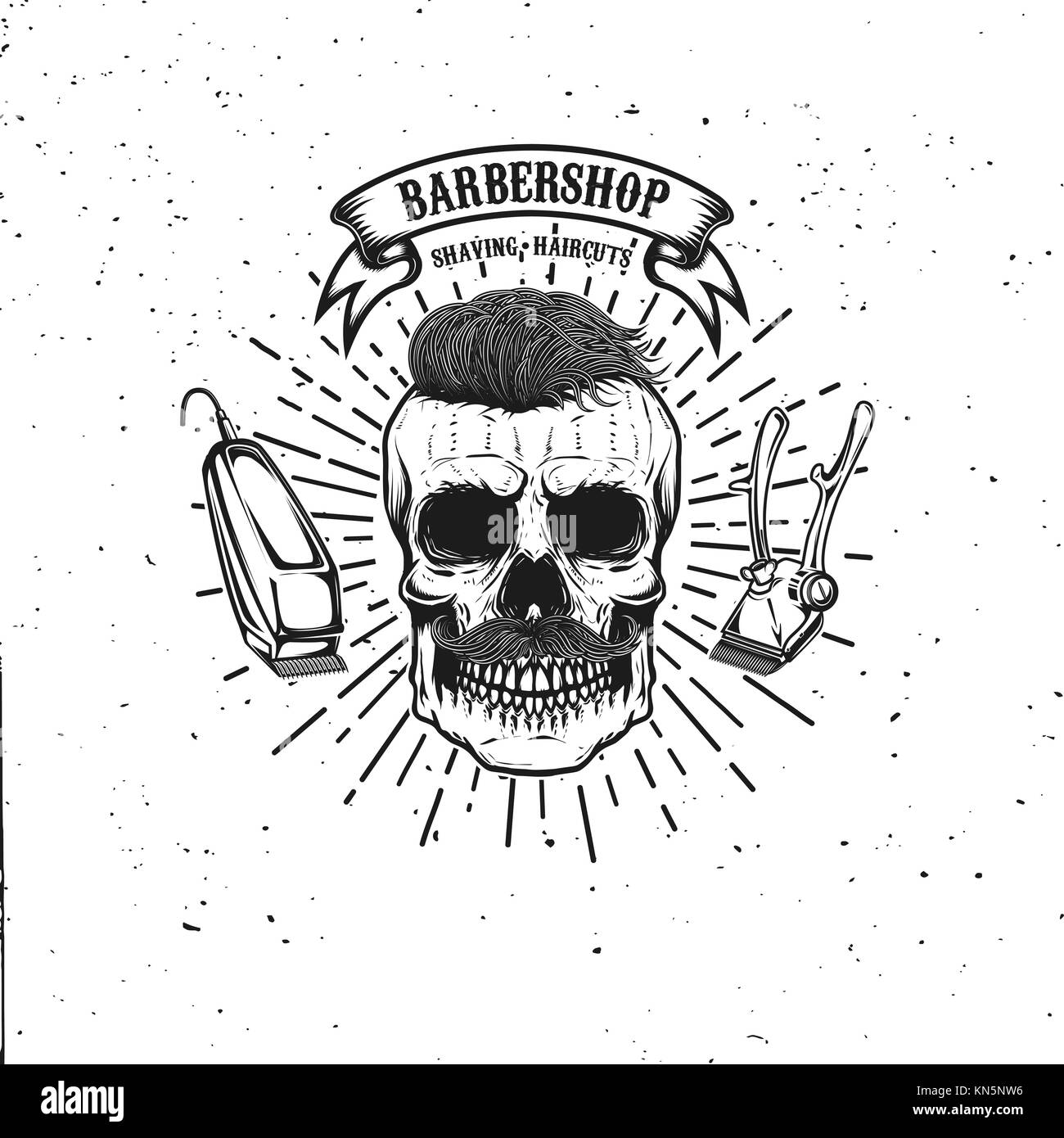 Barbershop emblem Vorlage. hipster Schädel mit Schnurrbart. Design ...