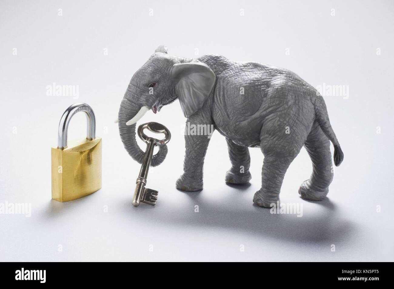 Elefant Figur mit Schlüssel und Schloss. Stockbild