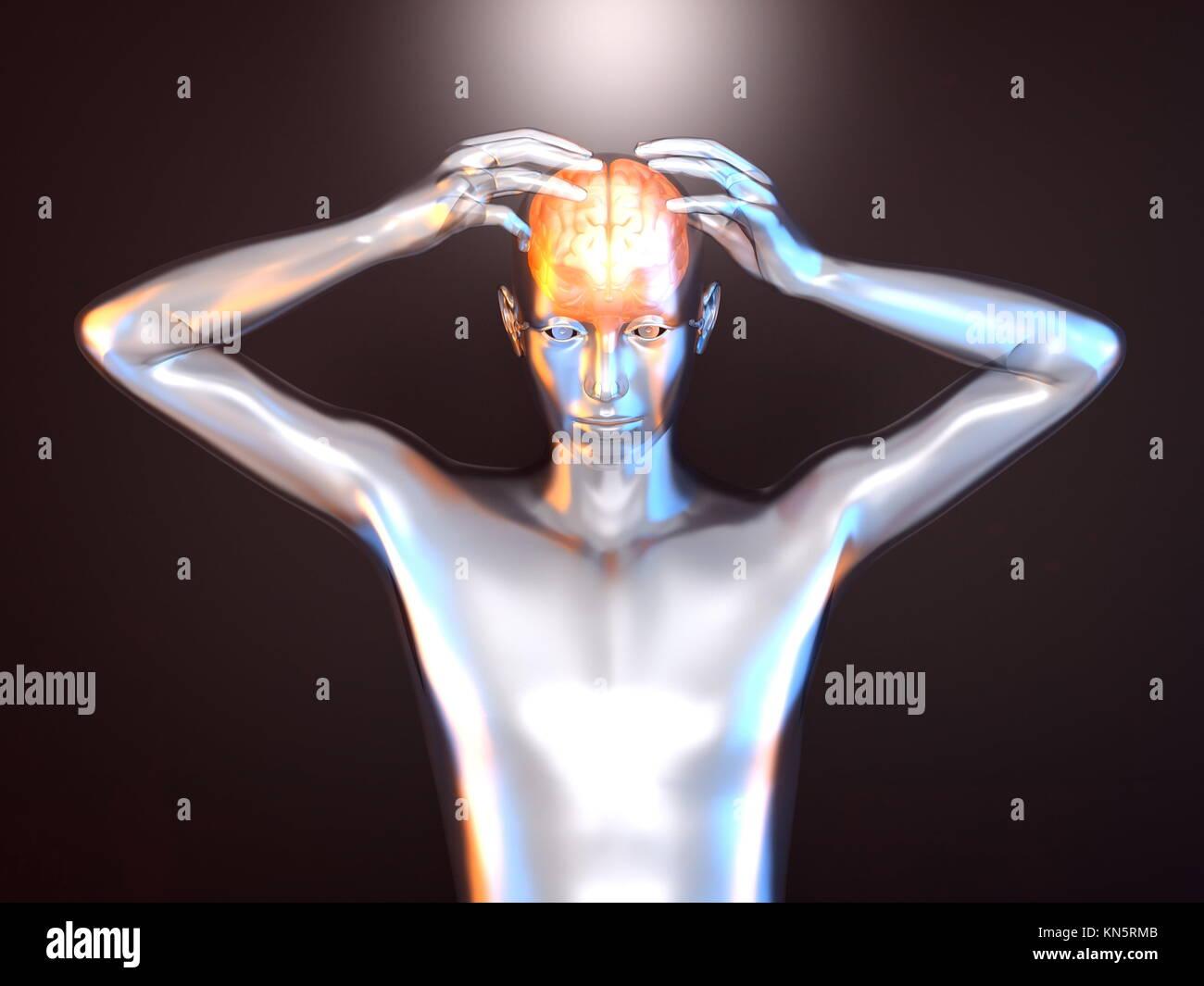 Mentale Kraft und Kreativität. 3D gerenderte Darstellung. Stockbild