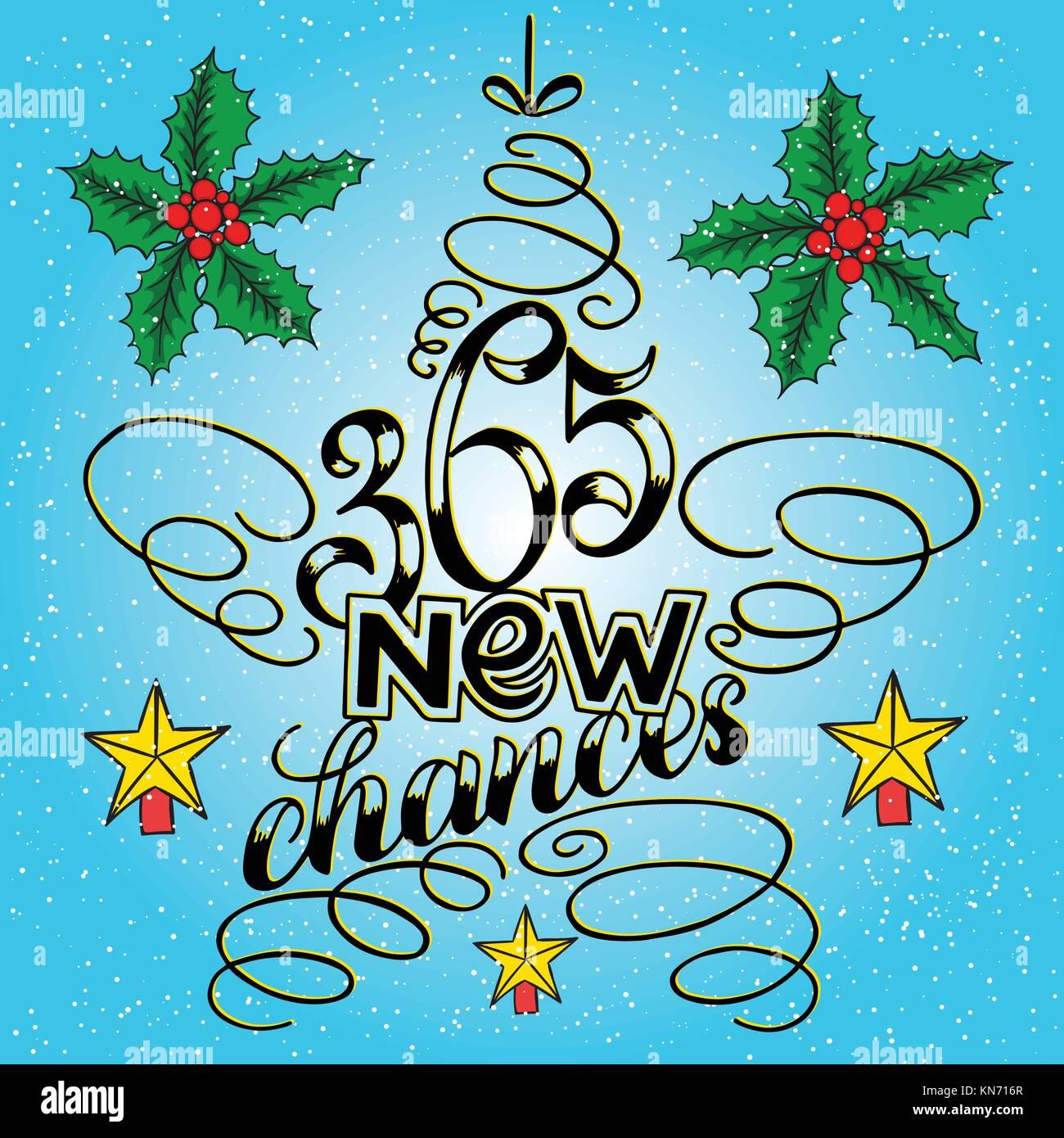 365 Chancen neues Jahr Schriftzug in Form von Stern Baum Spielzeug ...