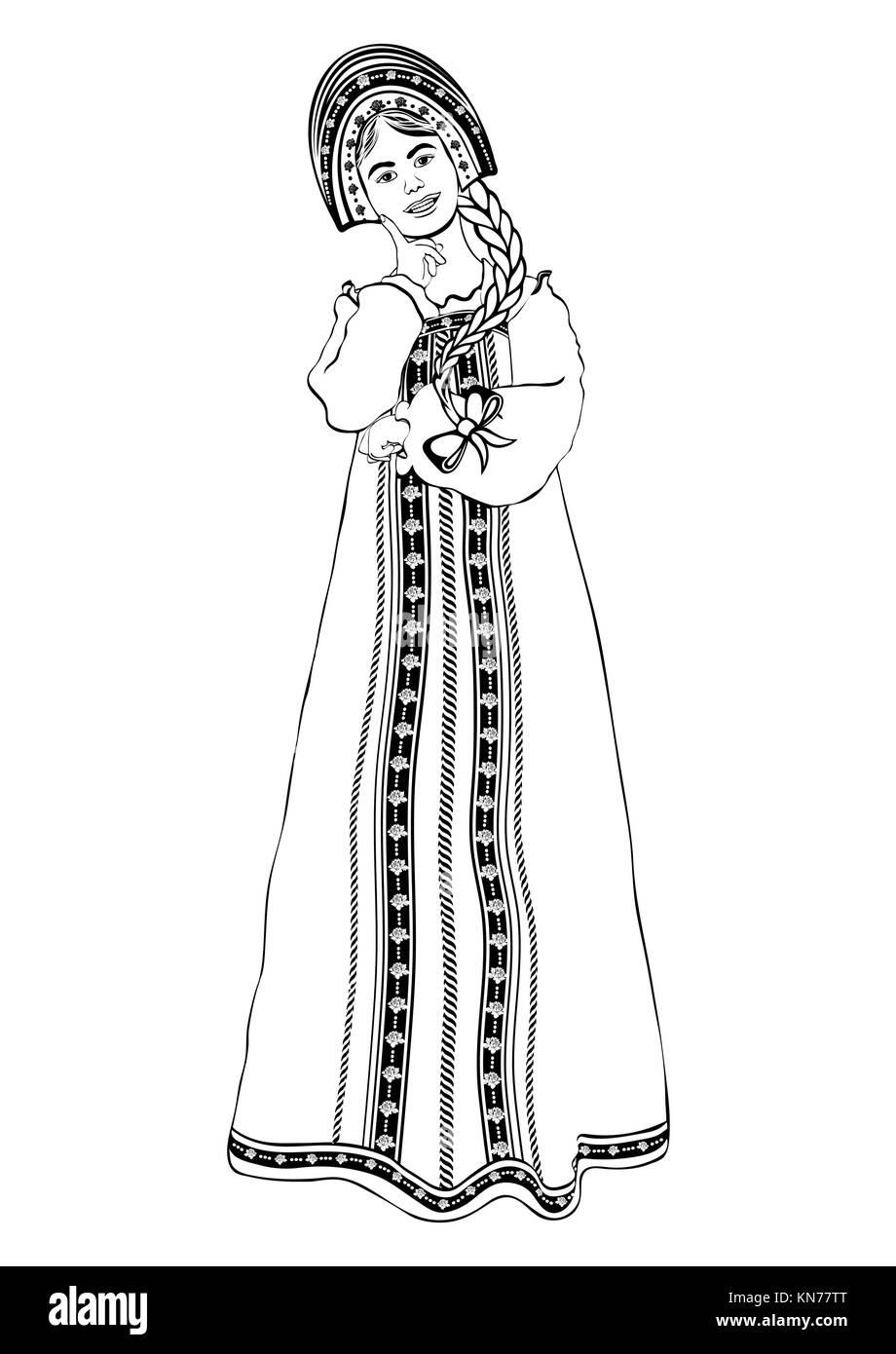 Madchen In Der Russischen Nationalen Kostum Standigen Vorderseite