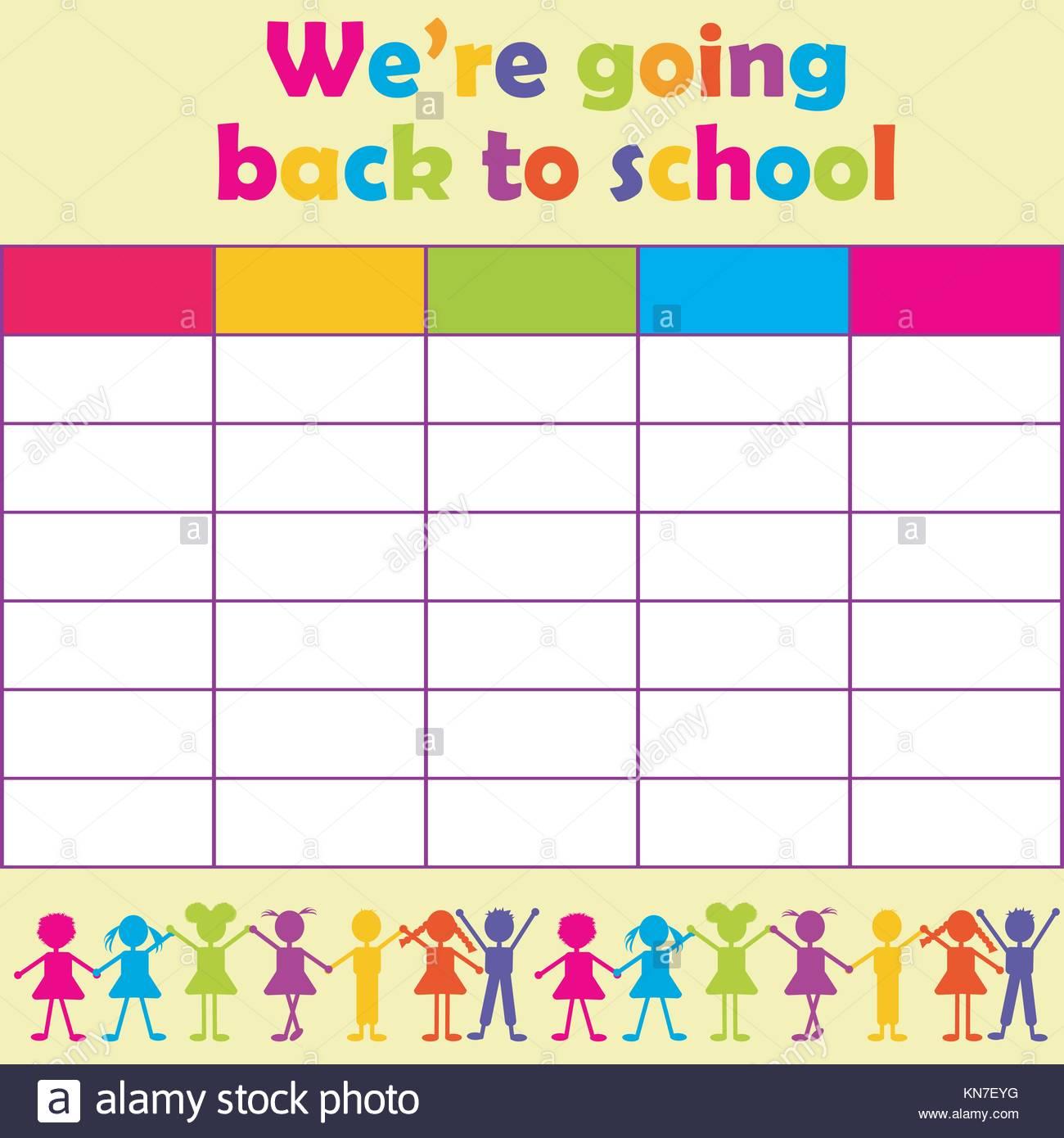 School Timetable Stockfotos & School Timetable Bilder - Alamy