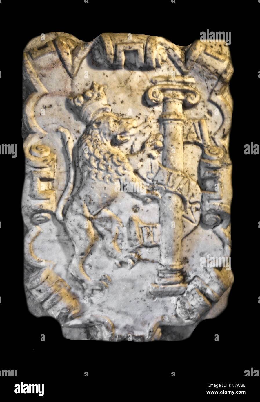 """Wappen der Provinz Badajoz (Spanien): Azure, eine Spalte, Silber, Farbband, gold, mit dem Motto """"PLUS ULTRA"""" Stockbild"""