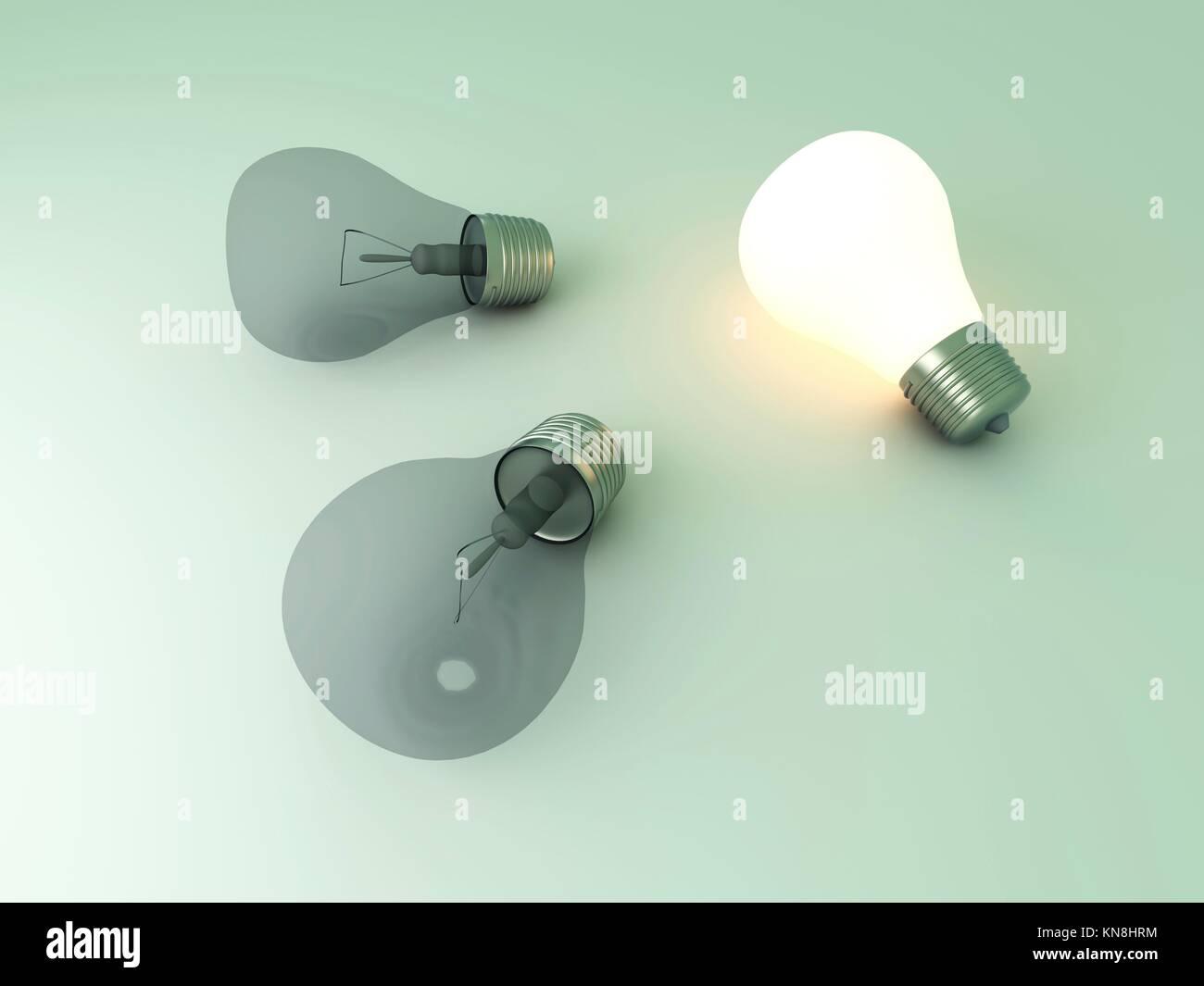 Eine leuchtende Glühbirne zwischen anderen. 3D gerenderte Darstellung. Stockbild