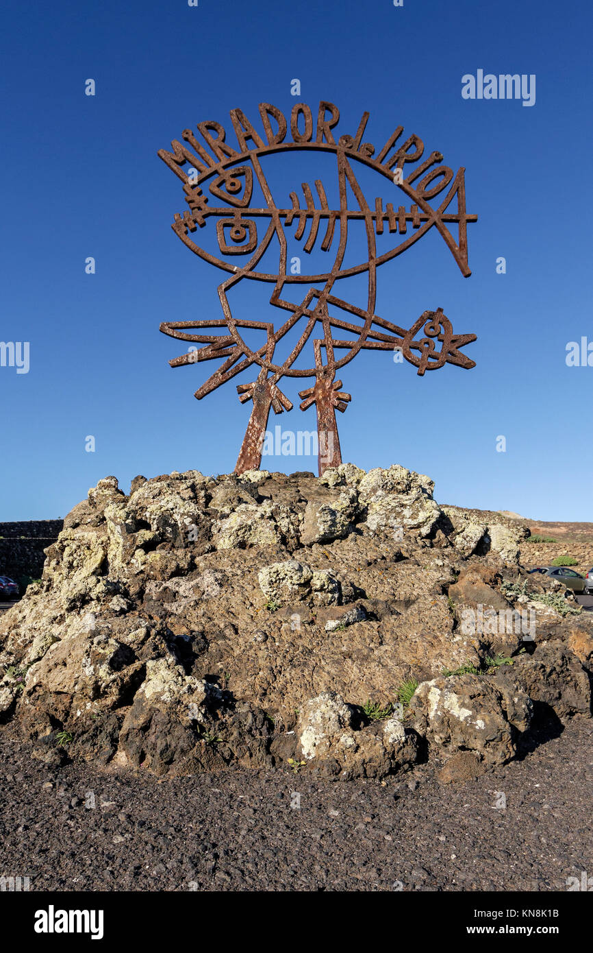 Mirador del Rio, Skulptur von Cesar Manrique, Lanzarote, Kanarische Inseln, Spanien Stockbild