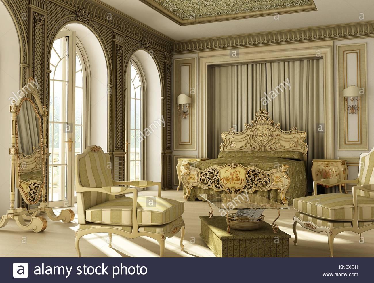 3D Rendering Des Rokoko Luxus Schlafzimmer Mit Doppel Fenster Auf Balkon.