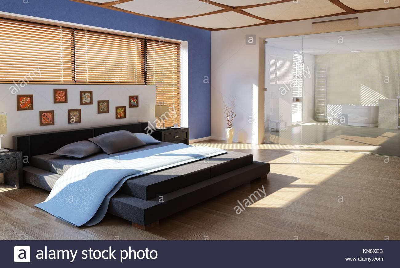 Moderner Luxus Schlafzimmer Mit Bad, Getrennt Durch Ein Großes Glasfenster.
