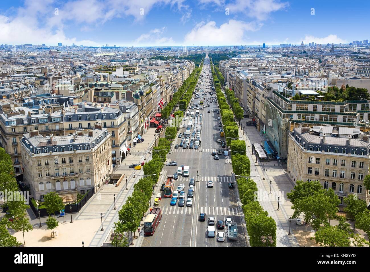 Skyline von Paris Champs Elysees und Concorde Luftaufnahme in Frankreich. Stockbild
