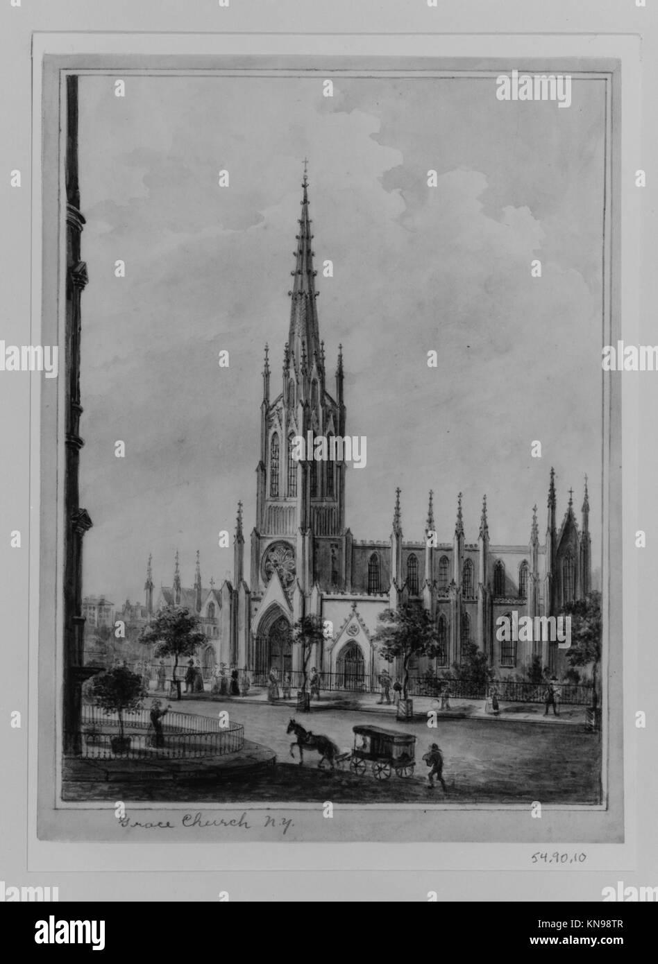 Grace Church, New York met 190911 383438 Künstler: Anonym, amerikanische, 19. Jahrhundert, Grace Church, New Stockbild