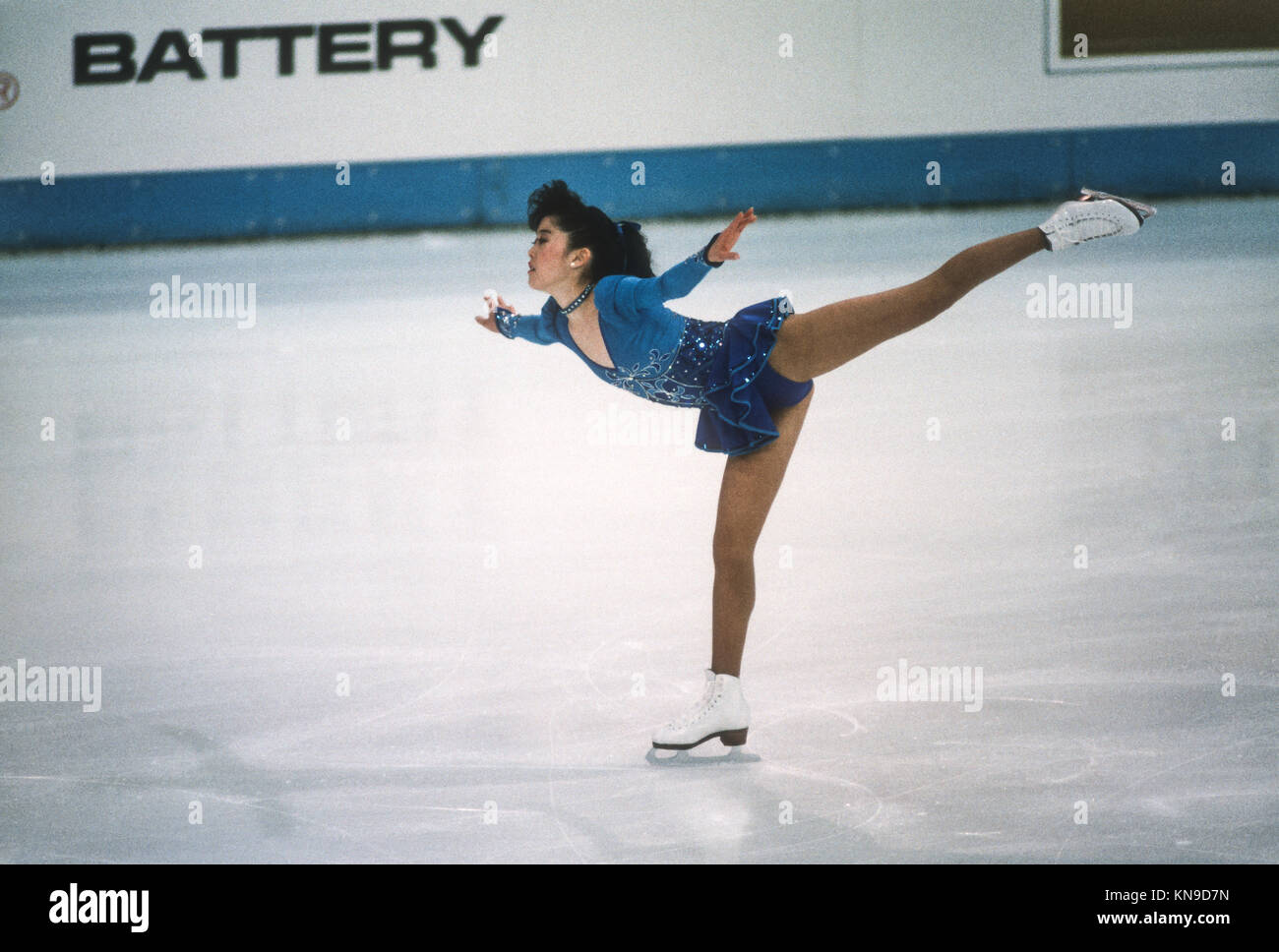 Kristi Yamaguchi (USA) beim 1989 Weltmeisterschaften konkurrieren. Stockbild