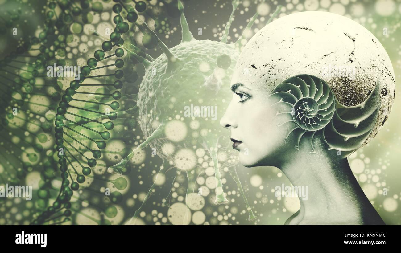 Biologisch Organismus, Wissenschaft und Bildung Hintergrund mit menschlichem Gesicht geändert. Stockbild