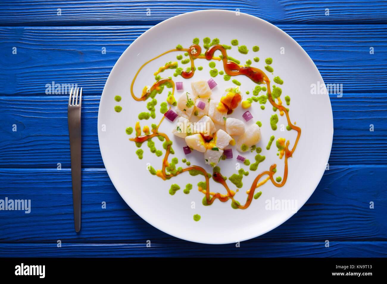 Ceviche Rezept moderne Gastronomie Stil molekulare Küche. Stockbild