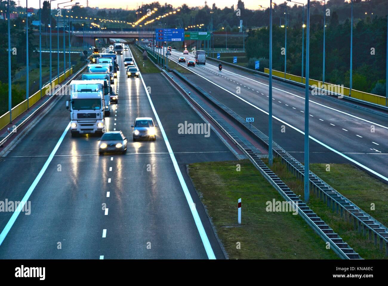 Kontrollierter Zugang Autobahn in Poznan, Polen. Stockfoto