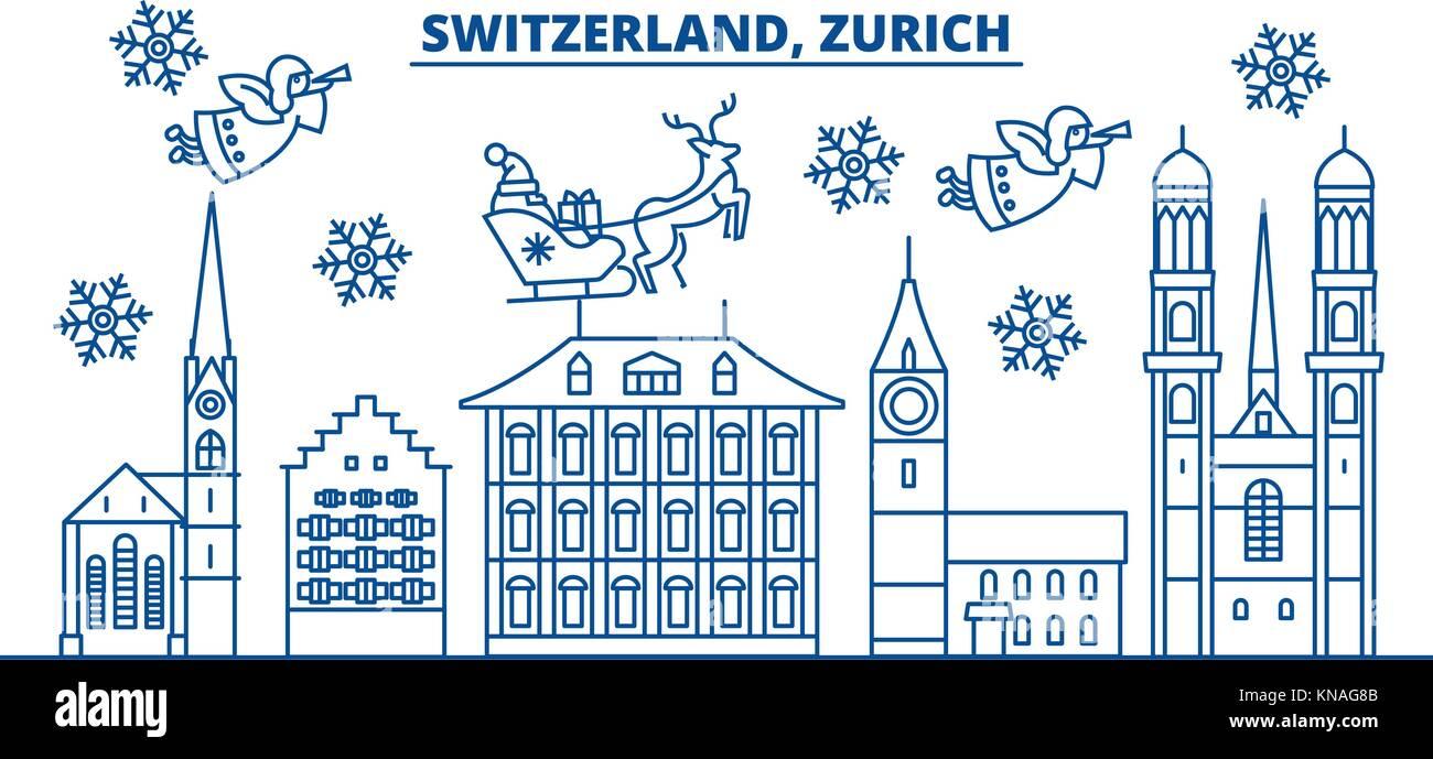 Frohe Weihnachten Schweiz.Schweiz Zürich Winter City Skyline Frohe Weihnachten Frohes Neues