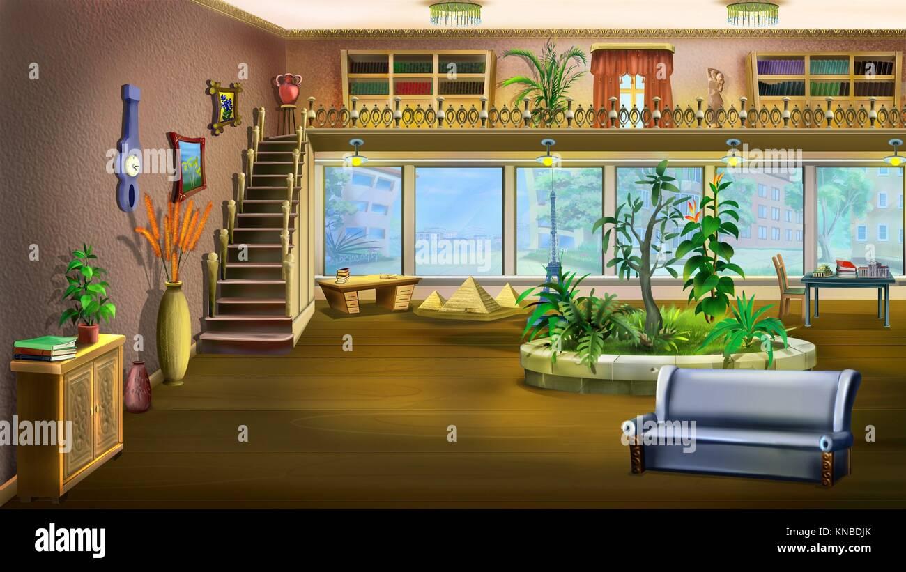 Digitale Malerei Karikatur Interior Design von Vintage Wohnzimmer ...