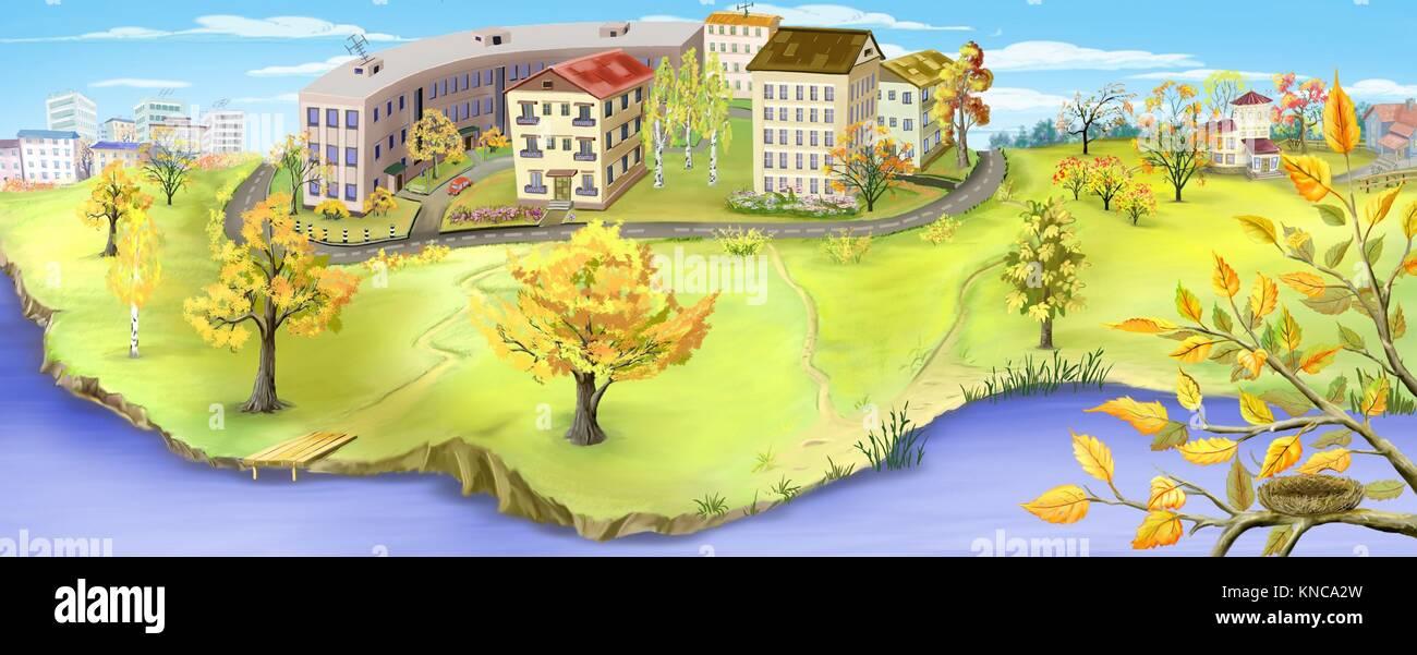 Herbstliche Landschaft mit Kleinstadt in der Nähe eines Flusses. Digital Painting Panorama-Hintergrund, Illustration. Stockbild