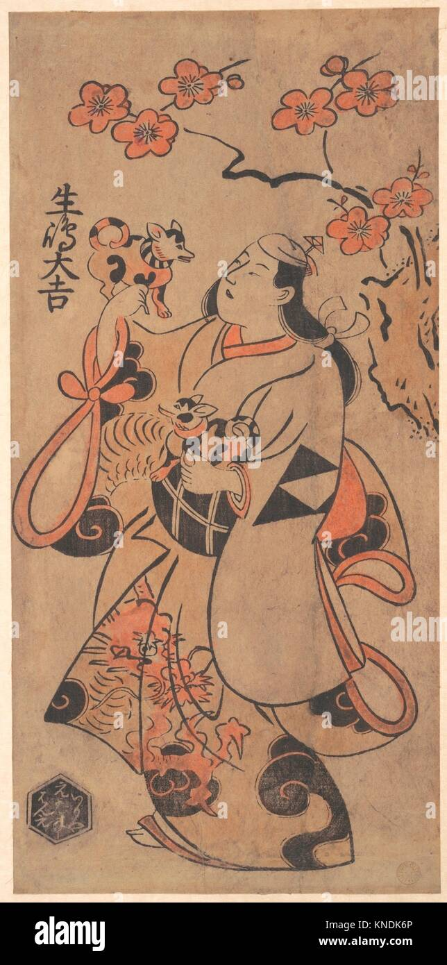 Der Schauspieler Ikushima Daikichi als eine Frau, die unter einer Ume Baum. Artist: Torii Kiyonobu (Japanisch, 1664 Stockbild